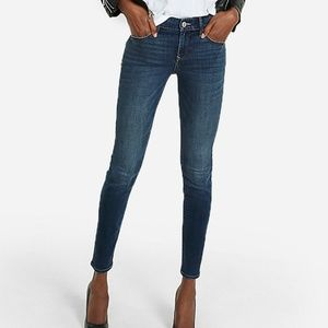Mid-Rise Dark Wash Skinny Jeans | Express | 12S